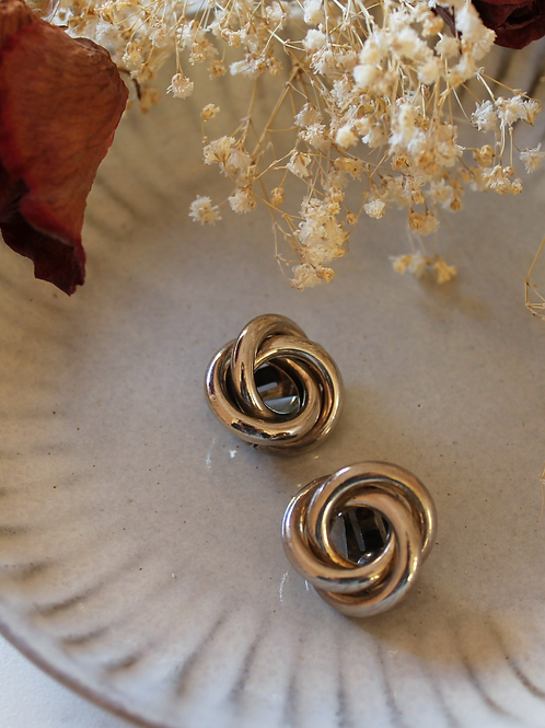 Vintage 90s Silver Toned Circle Knot Earrings