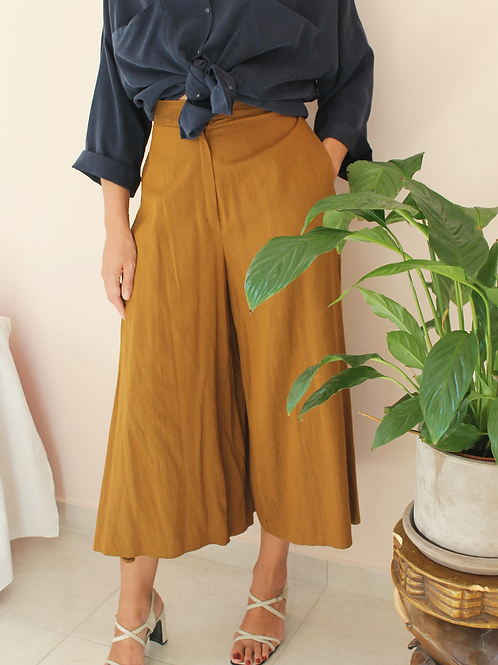 Vintage High Waisted Palazzo Pants in Caramel Brown