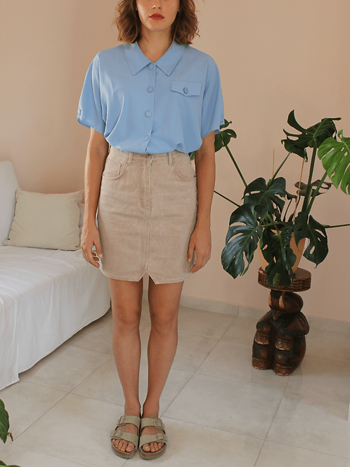 French Vintage Collar Blouse in Pastel Blue  - (EU48)