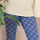 Thumbnail: Vintage 70s Flared Pants in Blue and White Check Print