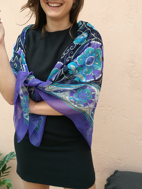 Vintage 90s Soft Long Floral Scarf in Purple