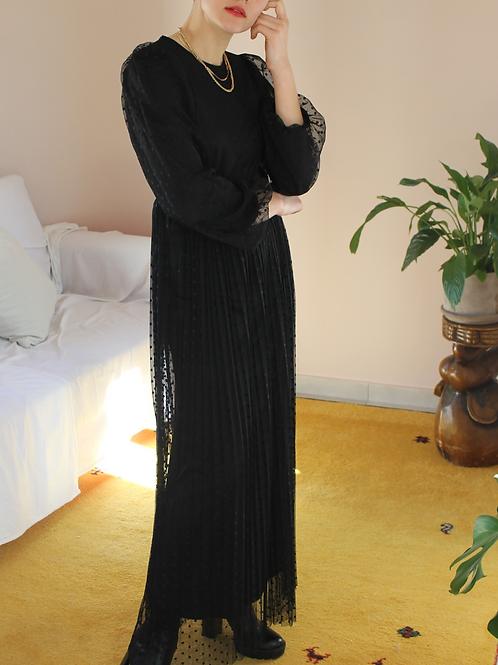 90s Vintage Maxi Dress in Black