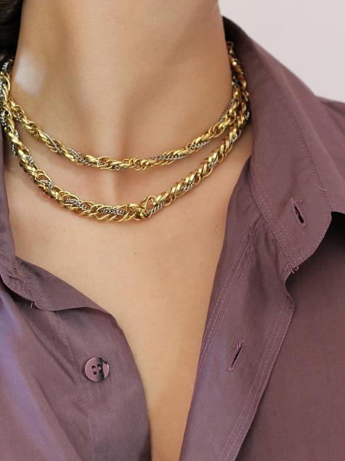 Vintage Gold & Silver Twist Chain Necklace