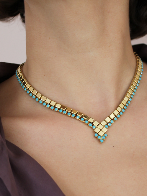 Vintage Statement Gold Chain Bead Necklace
