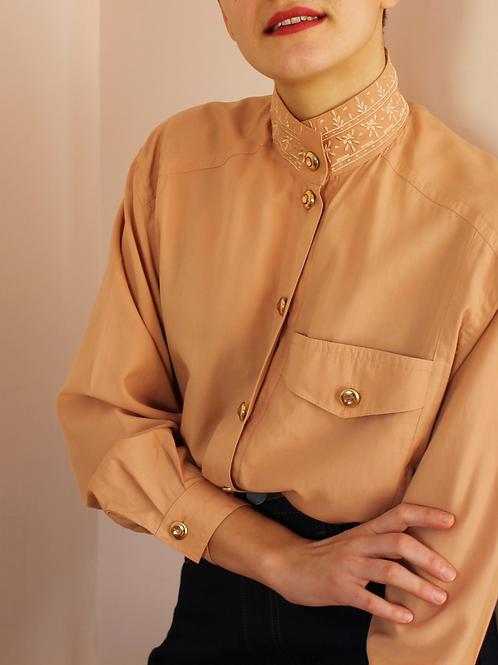 Vintage 90s Statement Collar Blouse in Peach Orange