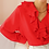 Thumbnail: Vintage Ruffle Neck Blouse in Red