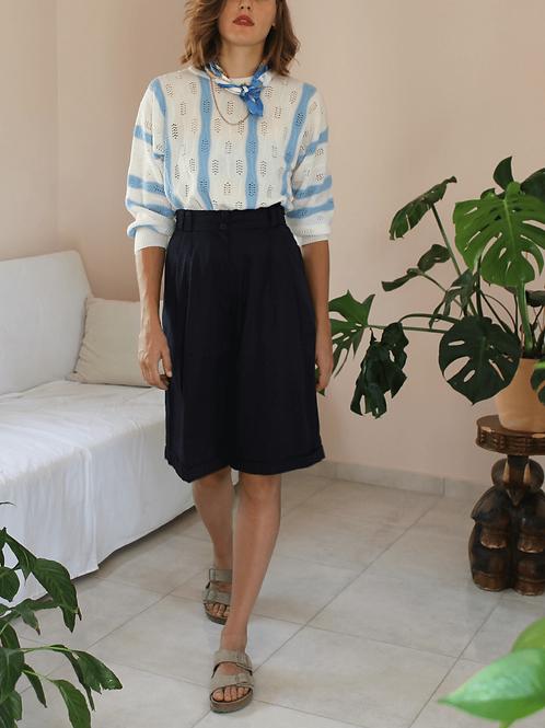Vintage Culottes Shorts in Navy Blue ( EU 40)