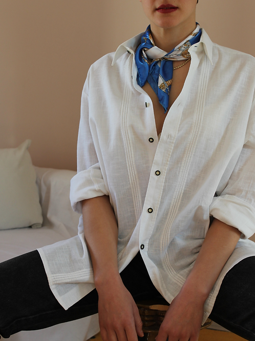 90s Vintage Seidensticker Collar Blouse in White