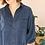 Thumbnail: 90s Vintage Silk Shirt in Navy Blue - (EU50)