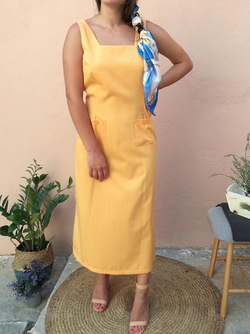 Vintage Long Slip Dress in Yellow