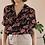Thumbnail: 80s Vintage Floral Blouse in Black - (EU48)