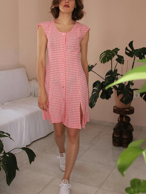 80s Vintage Gingham Dress in Pink - (EU40-42)