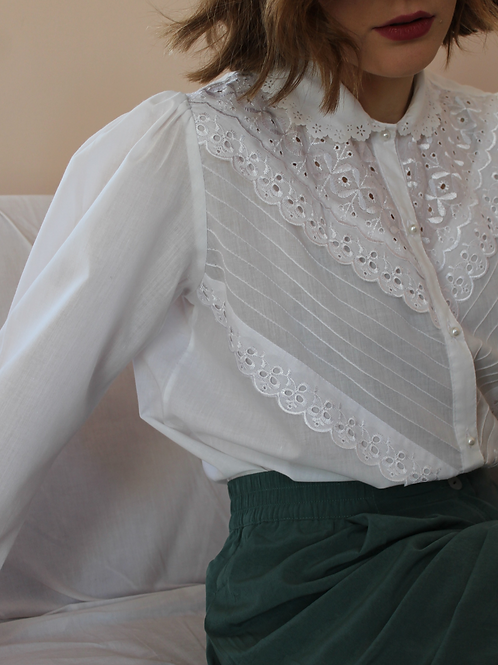 90s Vintage Statement Collar Blouse in White - (EU46)