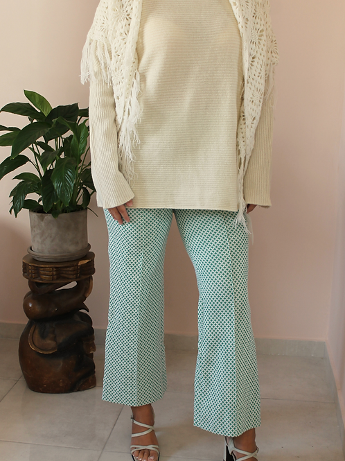Vintage 70s Flared Pants in Green and White Cross Print