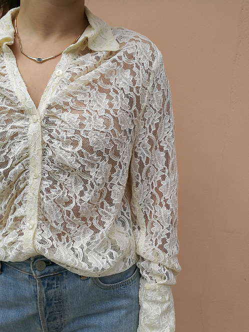 Vintage Collar Lace Blouse in White