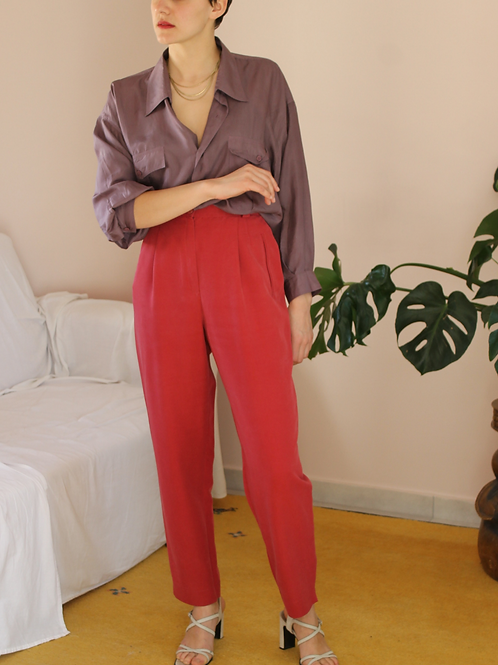 Vintage 90s High Waisted Trousers in Wine Red, W31/L28