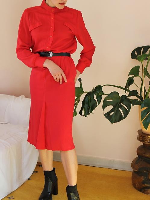 Vintage Godet Dress in Red