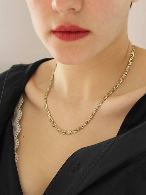 80s Vintage Flat Rope Necklace