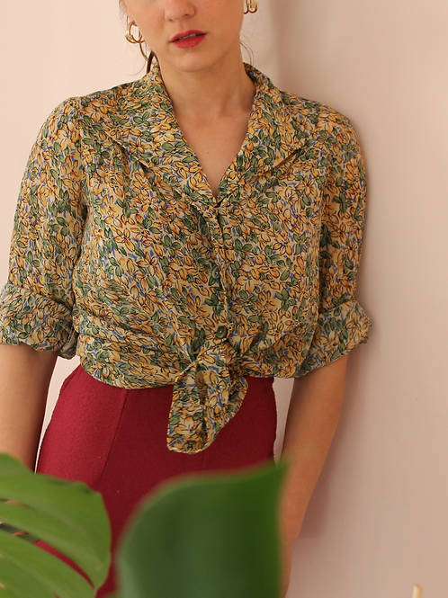 90s Vintage Collar Blouse in Floral Green (EU38)