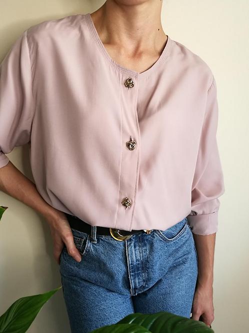 Vintage Minimal Button Up Blouse in Pastel Purple