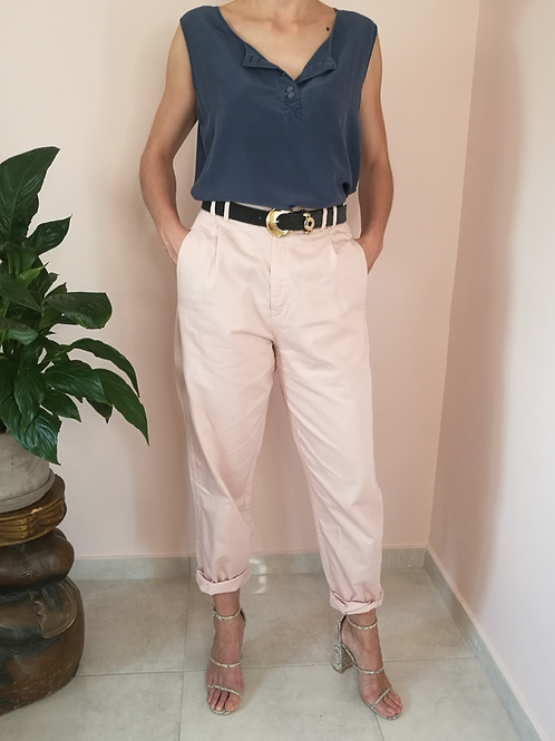 Vintage Tapered Cotton Pants in Pastel Pink