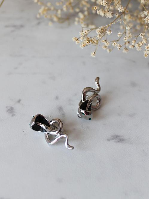 Vintage Silver Toned Snake Earrings