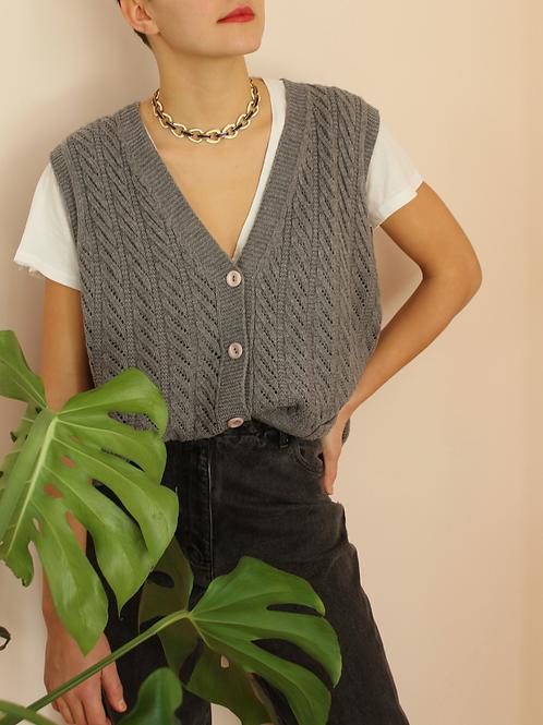Vintage 90s Chunky Knit Vest in Grey