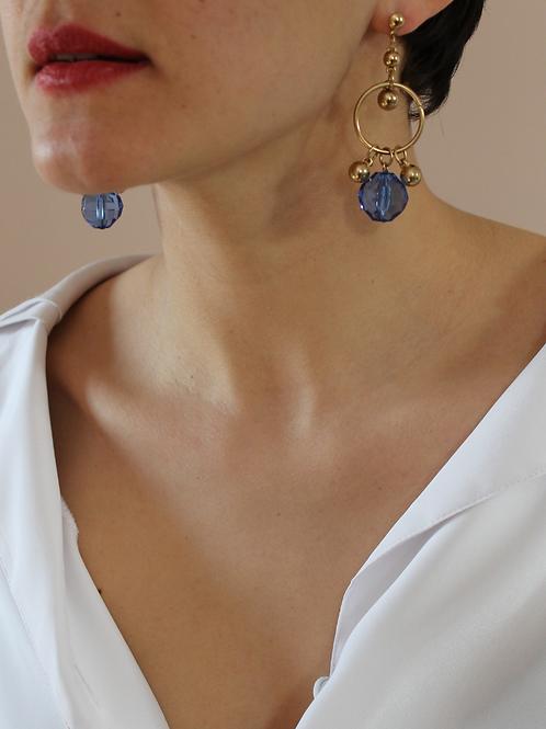 80s Vintage Statement Royal Blue Earrings
