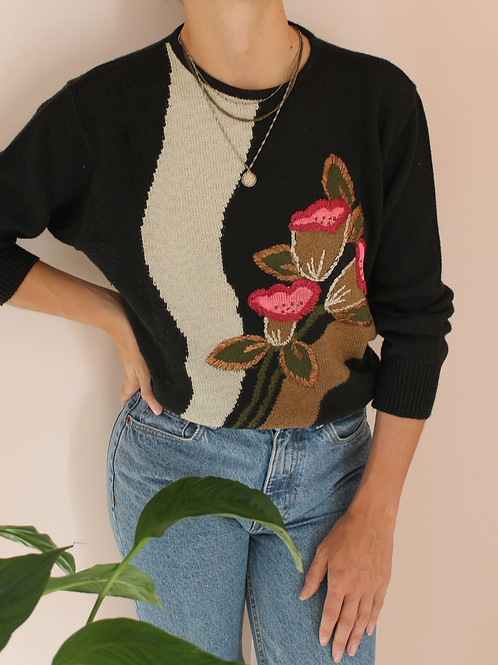 Vintage Embroidered Sweater in Black