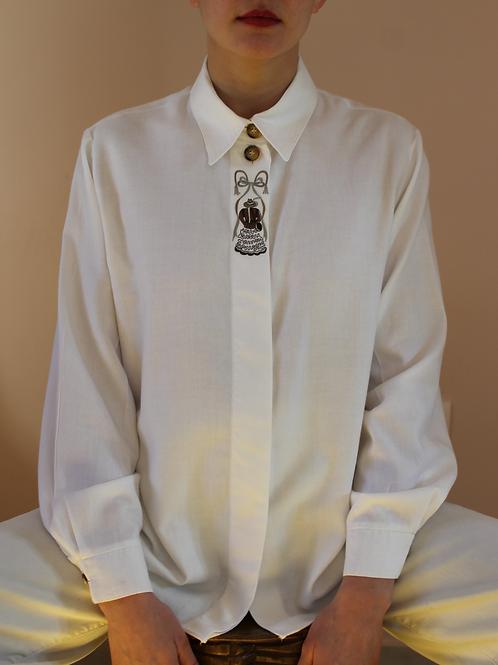 90s Vintage Minimal Button Up Shirt in Cream White