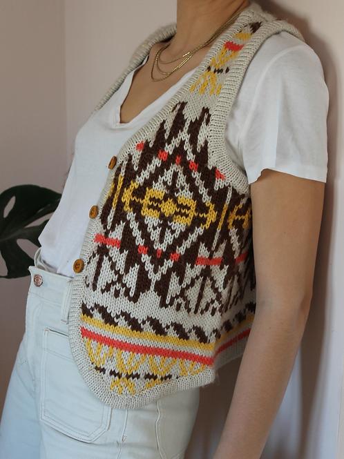 Preloved  Wool Vest in Aztec Print