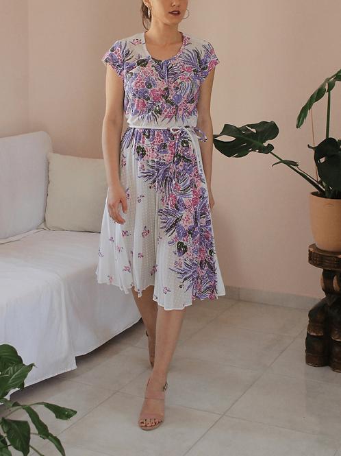 Vintage Summer Floral Dress in White - (EU36-38)