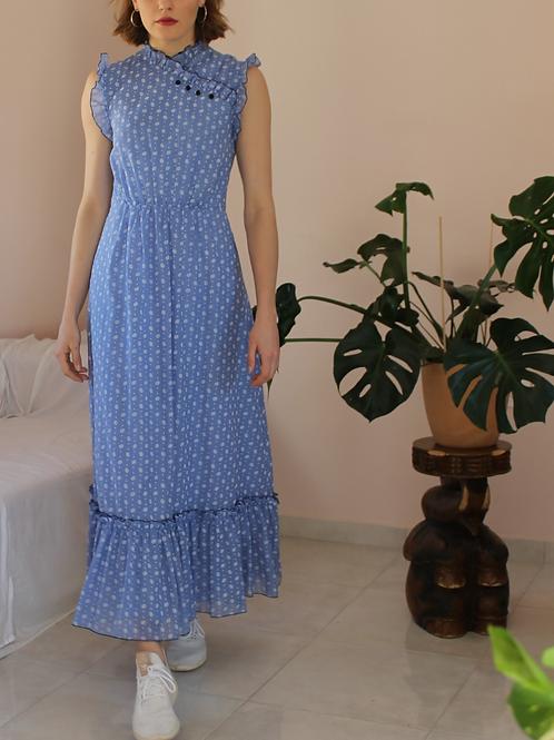 70s Vintage Prairie Dress in Blue - (EU40)