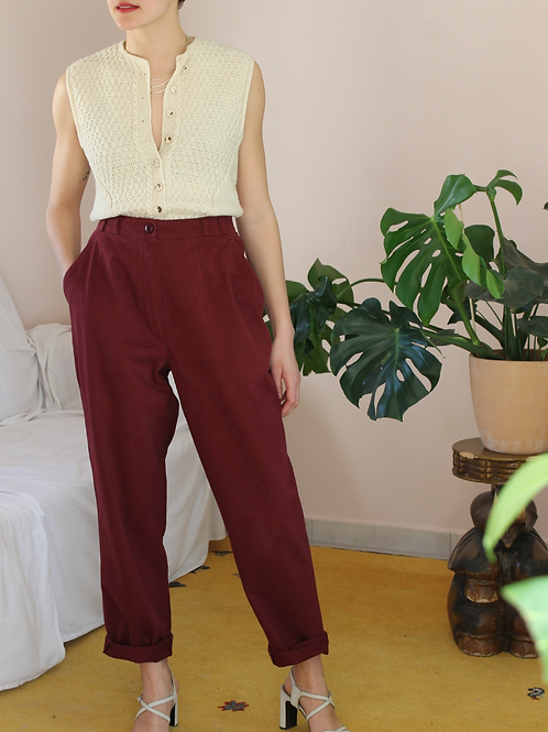 90s Vintage Cotton Trousers in Burgundy, W31/L29,5