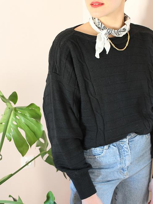 80s Vintage 100% Wool Knit Sweater in Black
