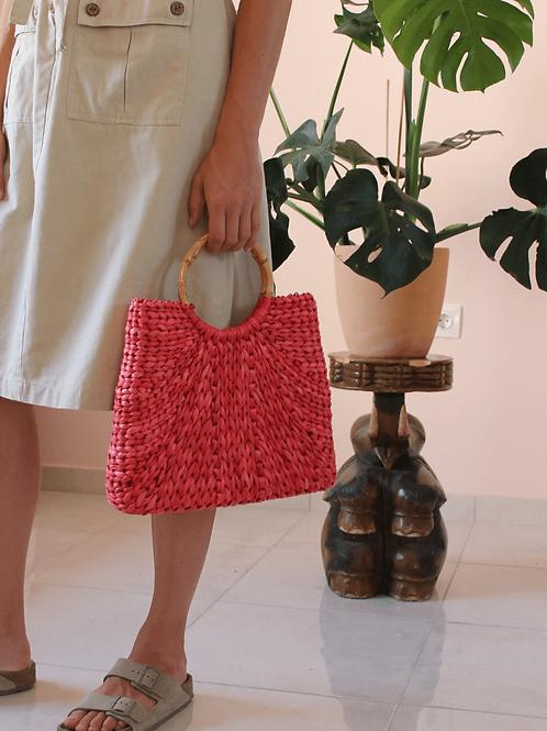 Vintage Red Straw Handbag