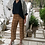 Thumbnail: Vintage Flared Pants in Beige Check Print