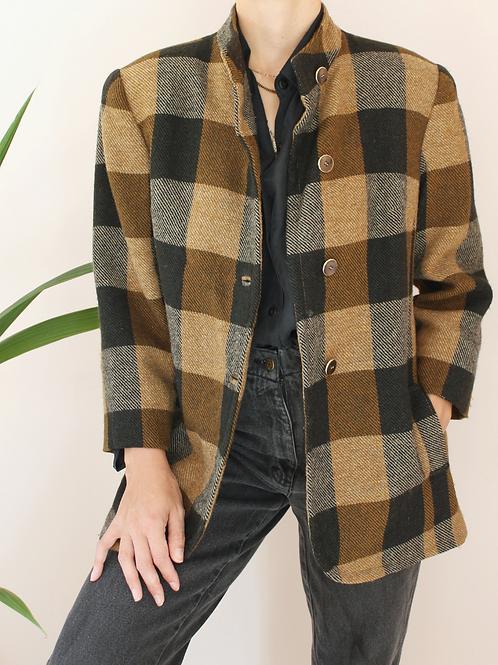 Vintage 90s Wool Plaid Jacket in Brown