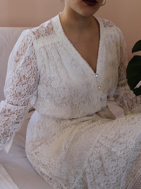90s Vintage Lace Dress in White - (EU42)