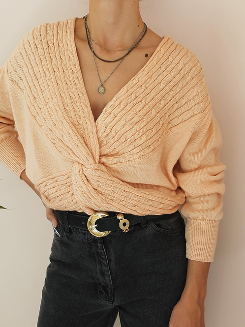 Vintage 90s Sweater with V Neck In Peach