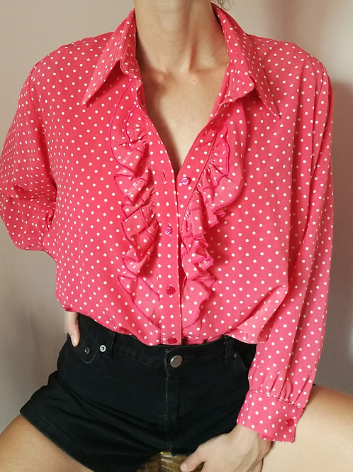 Vintage Polka Dot Blouse in Red with Ruffle Neck