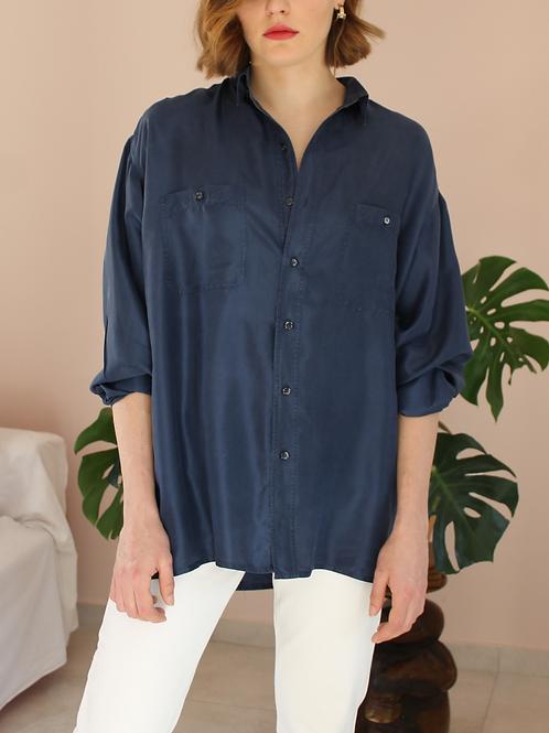 90s Vintage Silk Shirt in Navy Blue - (EU50)