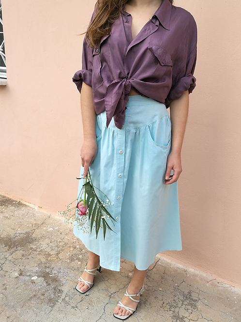 Vintage Maxi Cotton Skirt in Turquoise