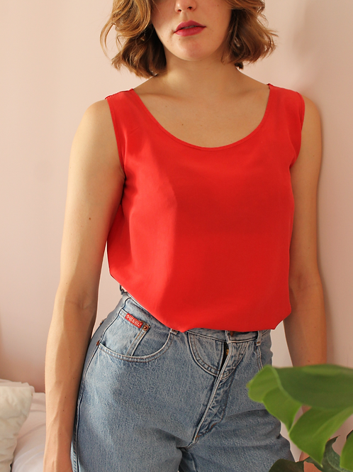 90s Vintage Silk Top in Red - (EU42)