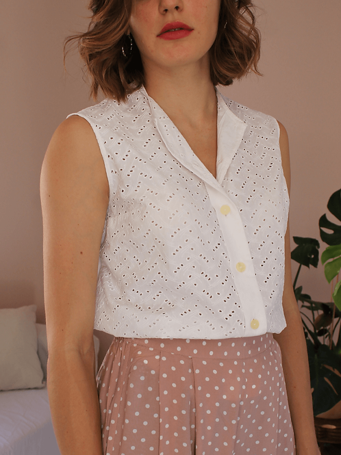 90s Vintage Cut out Blouse in White - (EU44)