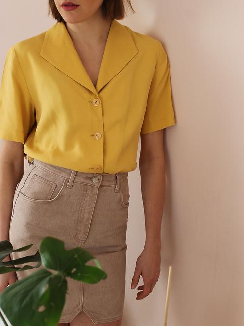 90s Vintage Cuban Collar Blouse in Yellow - (EU44)