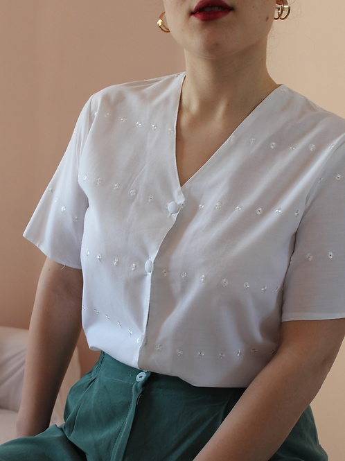 90s Vintage Embroidered Blouse in White - (EU44)