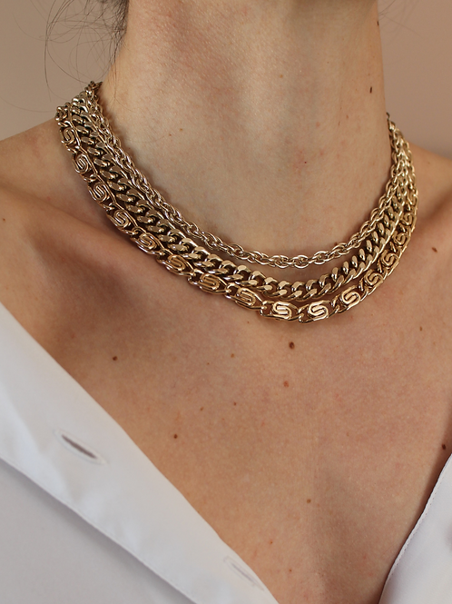 80s Vintage Triple Strand Chunky Chain Necklace