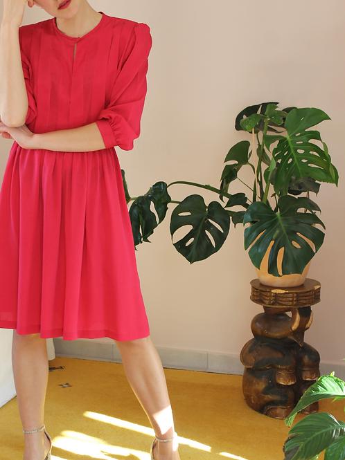 Vintage Midi Dress in Fuchsia