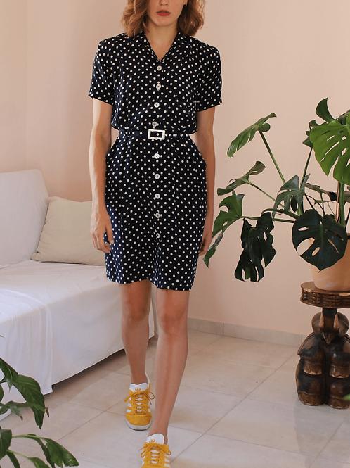 Vintage 100% Silk Dress in Navy Polka Dot - (EU42)